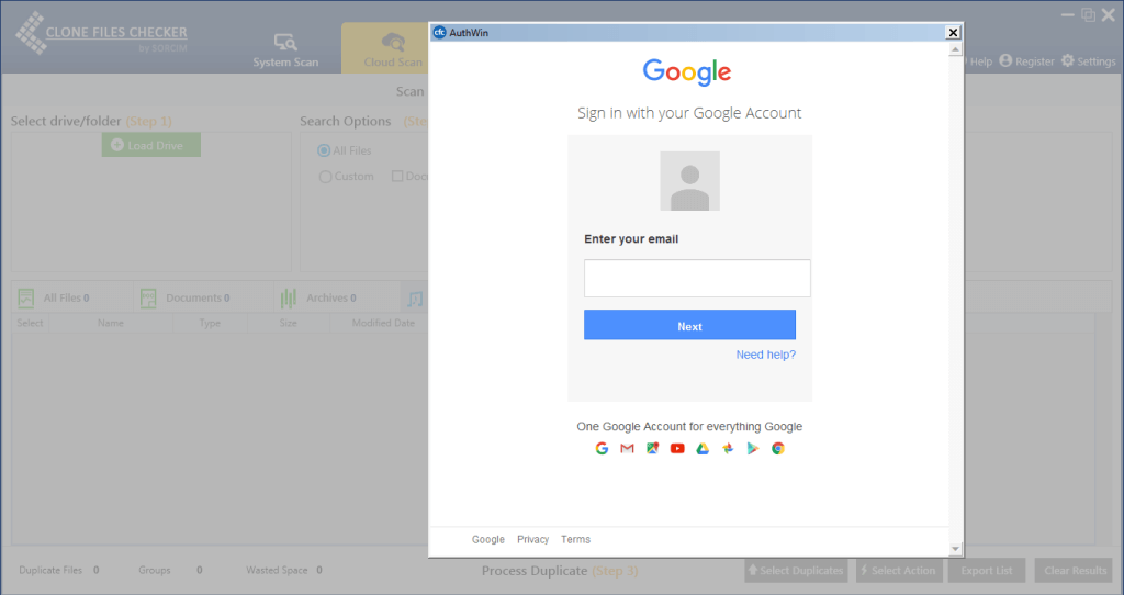 Google-Powered Login Screen